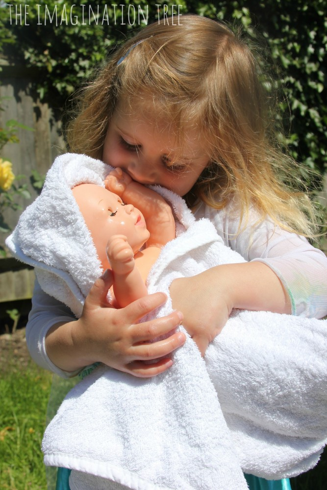 Caring for baby dolls activity