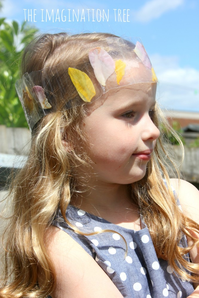 Laminated flower petal crown