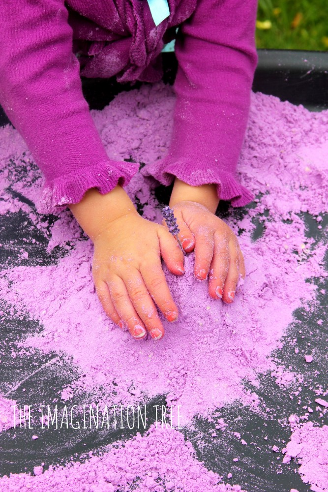 Lavender cloud dough sensory play