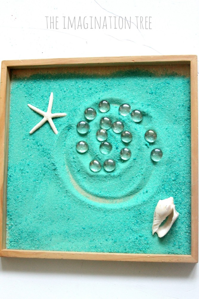 Making patterns in an ocean sensory tray