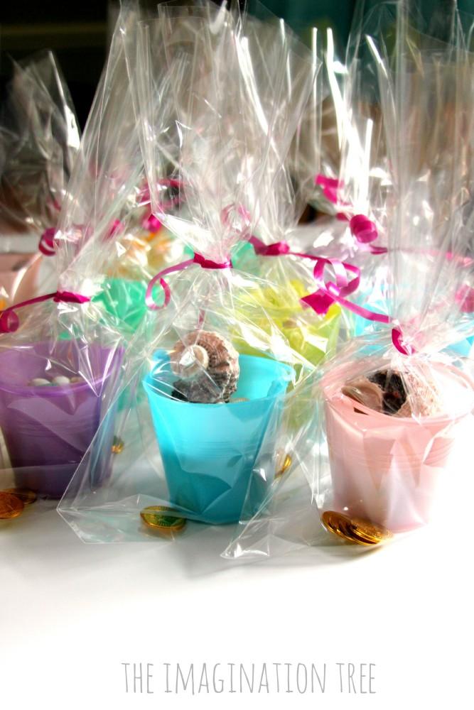 Mermaid play dough and shells party favours