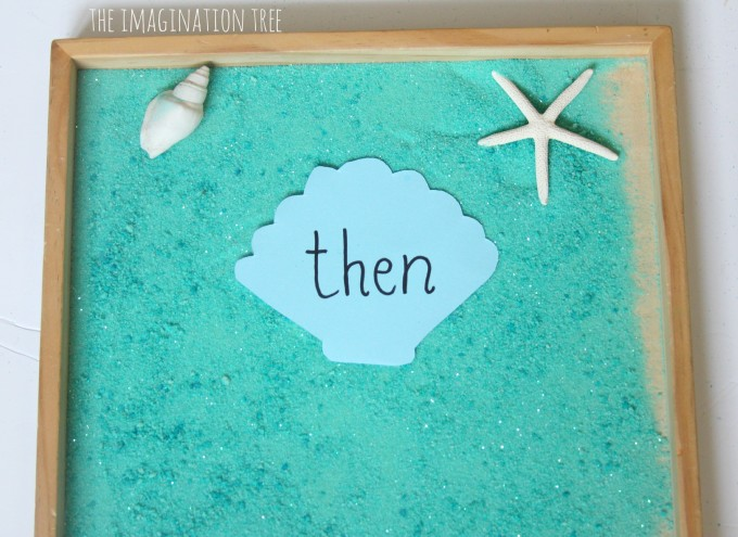Ocean themed sight word tray