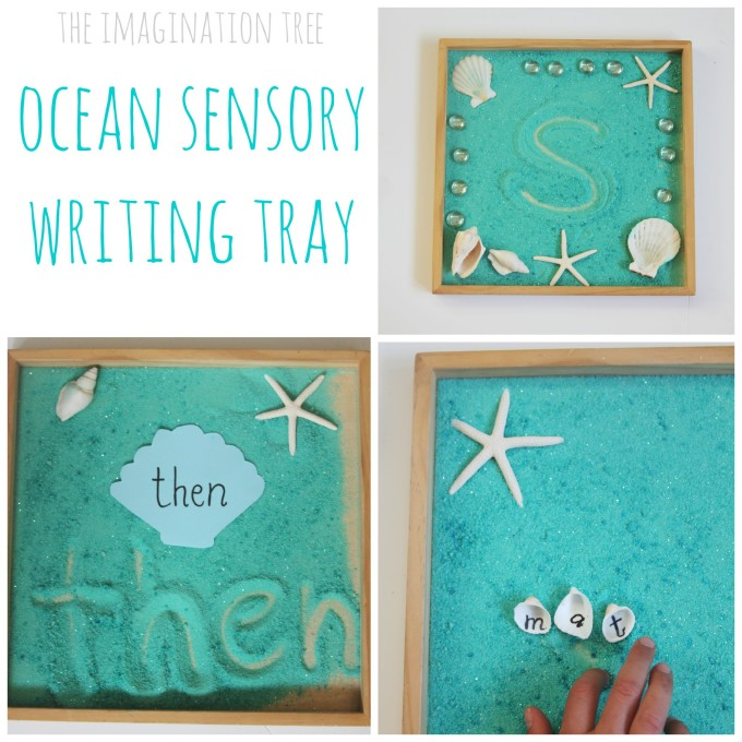 Ocean themed writing tray for kids