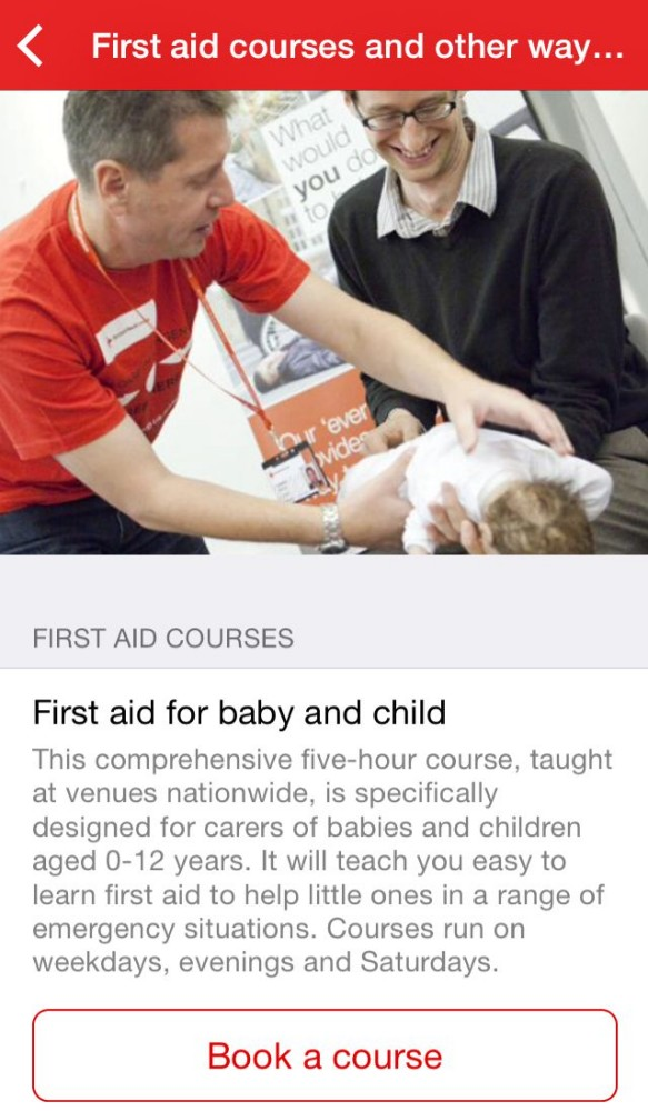 Book first aid courses with the British Red Cross app