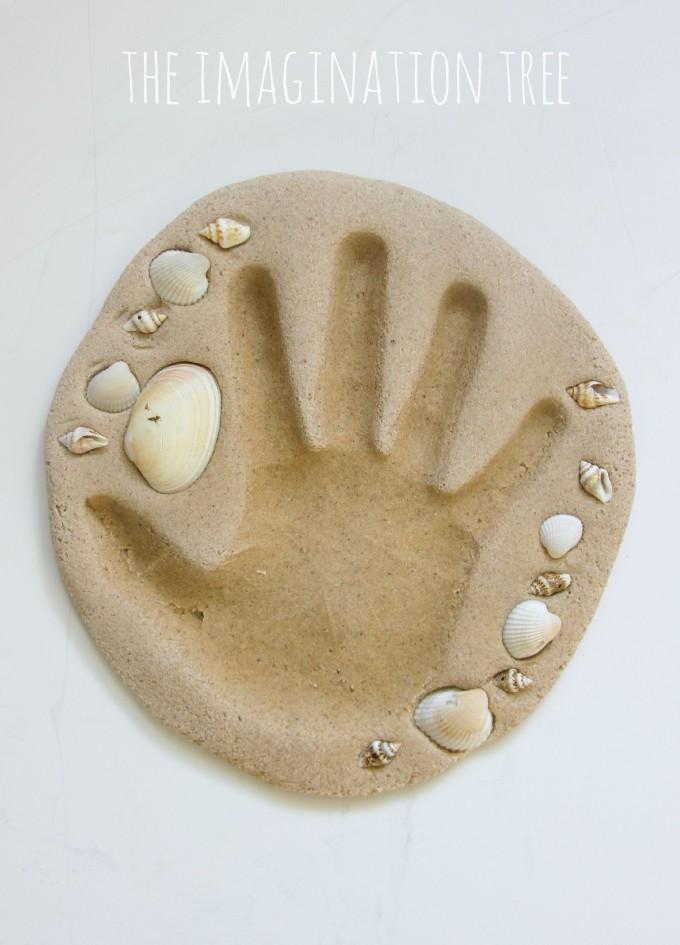 Hand print keepsake craft using sand clay