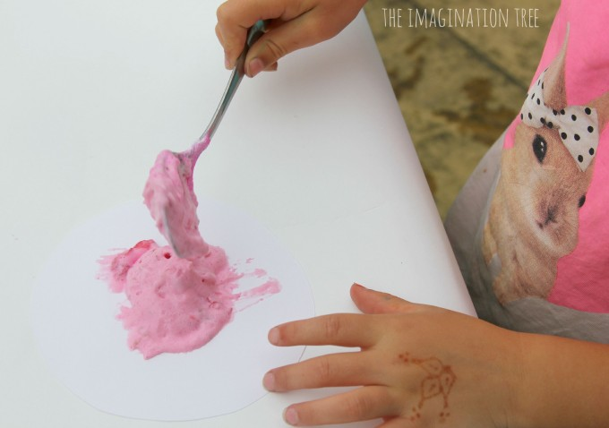 Painting with raspberry puffy paint