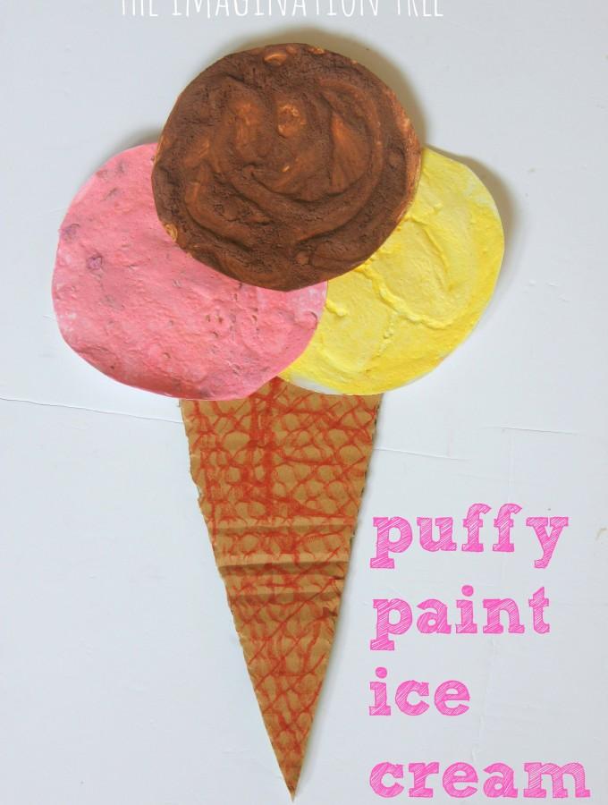 Puffy paint ice cream art activity
