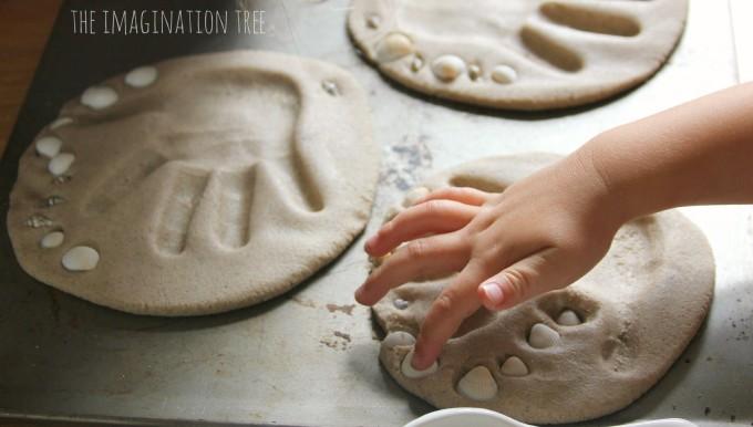 Sand clay hand print keepsakes