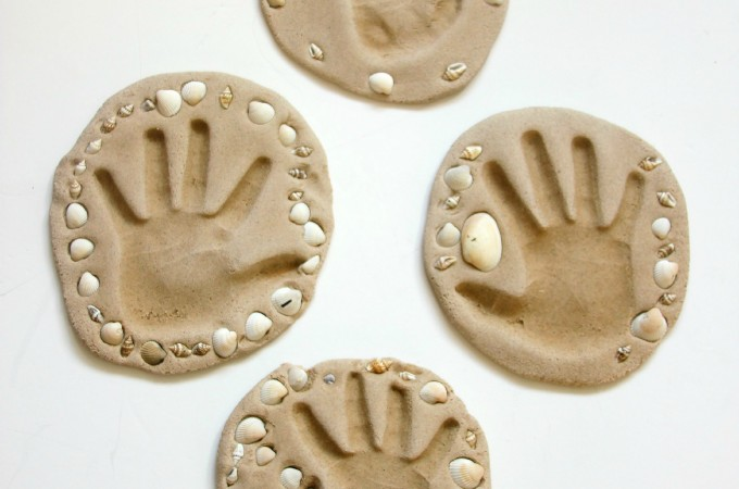 Sand clay handprint keepsakes craft