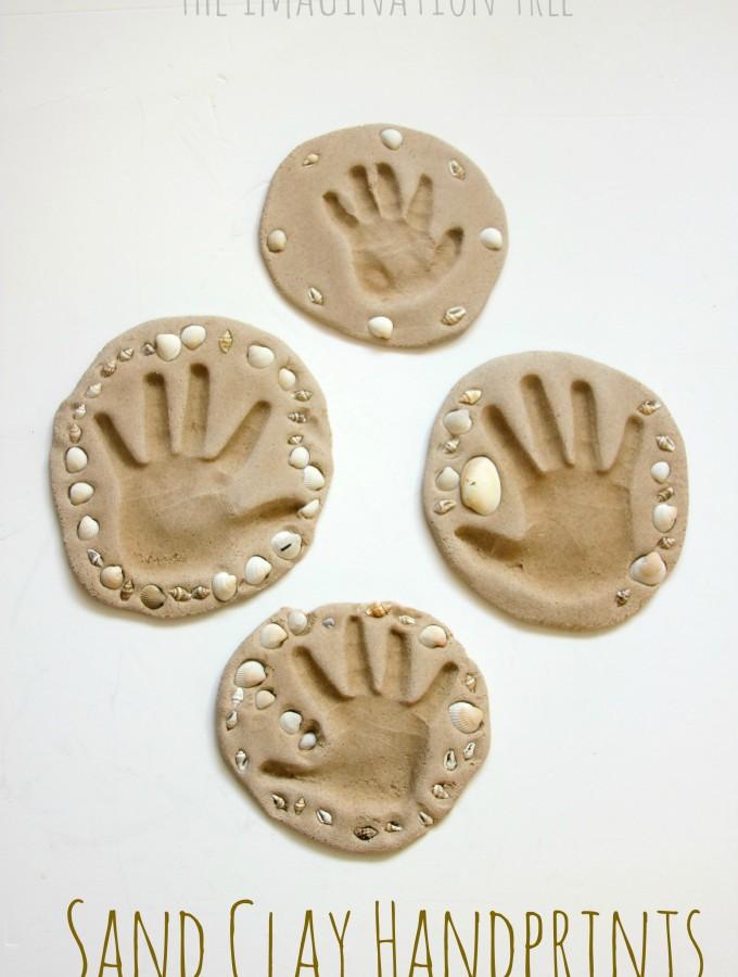 Sand clay handprint keepsakes craft