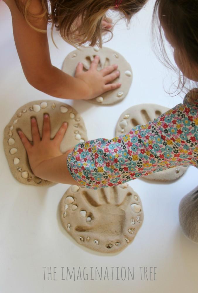 Sand clay keepsake craft for kids