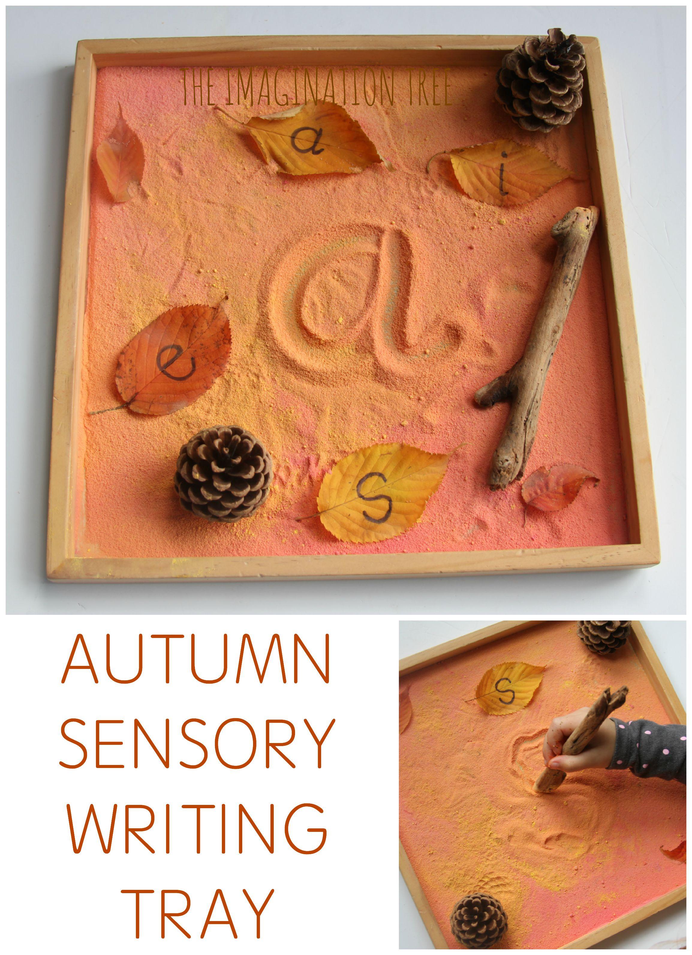 Autumn Sensory Writing Tray - The Imagination Tree