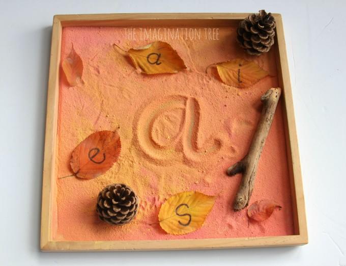 Autumn scented sensory writing tray