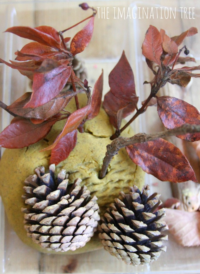Autumn spice play dough and natural materials