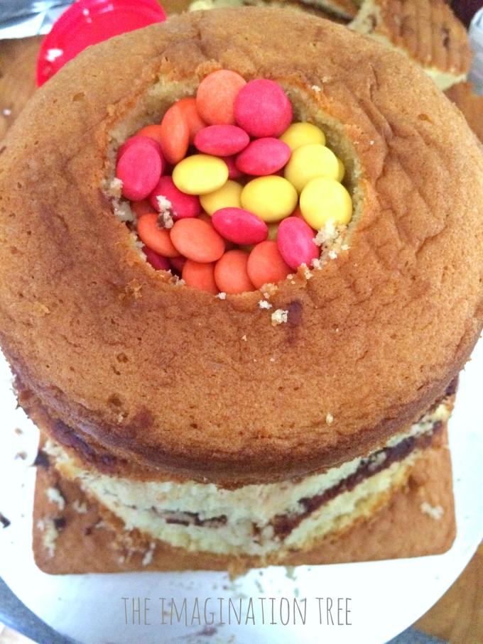 DIY Volcano piñata cake