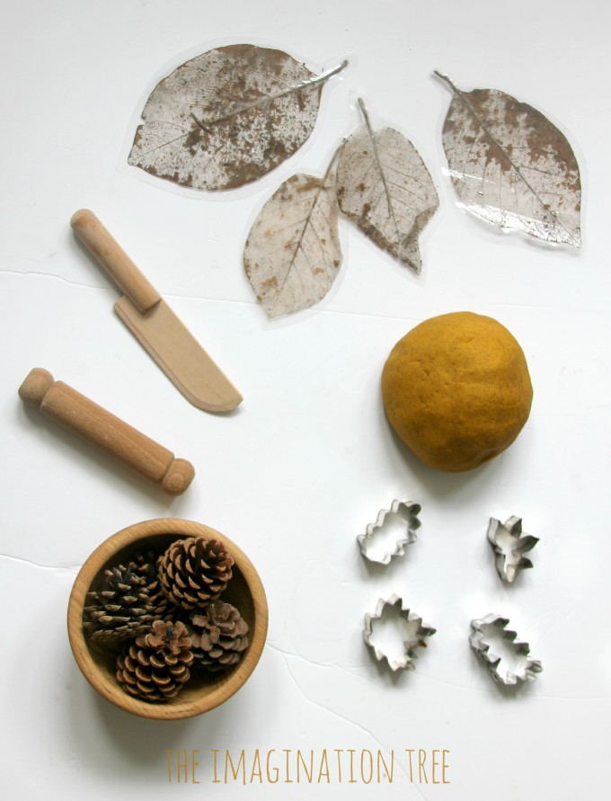 Invitation to play with autumn spice play dough