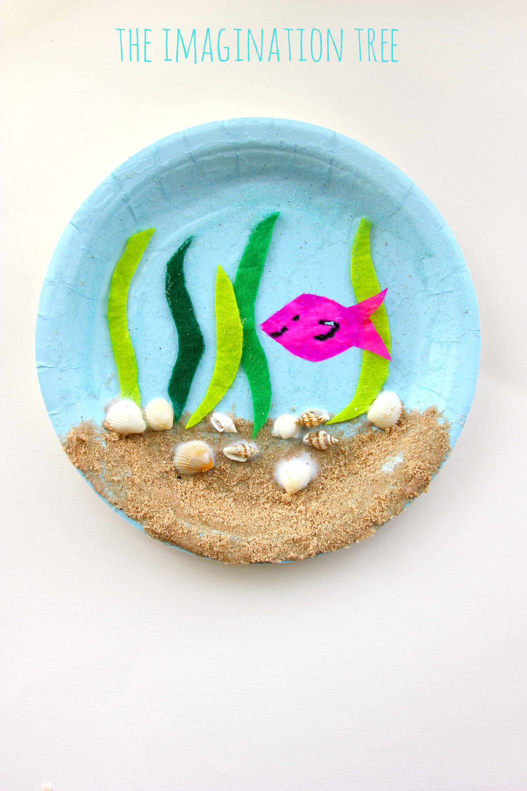 Under the sea paper plate craft the imagination tree for Craft ideas for old dishes