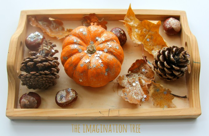 Autumn art activity tray for kids