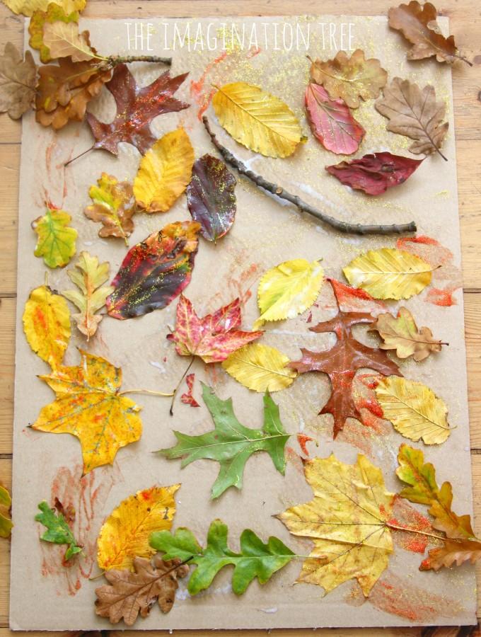 Autumn leaf and glue collage