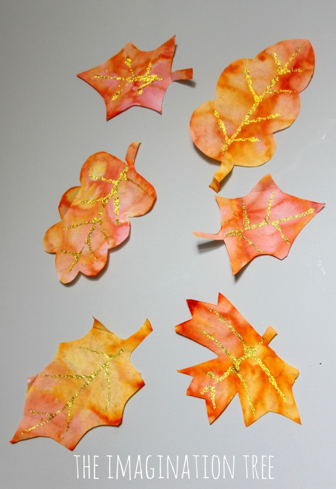 Autumn leaf coffee filter art