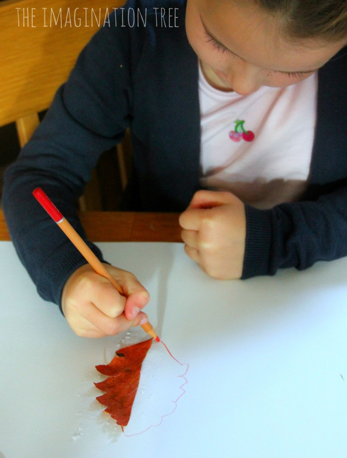 Drawing half leaf mirror images Autumn art activity for kids