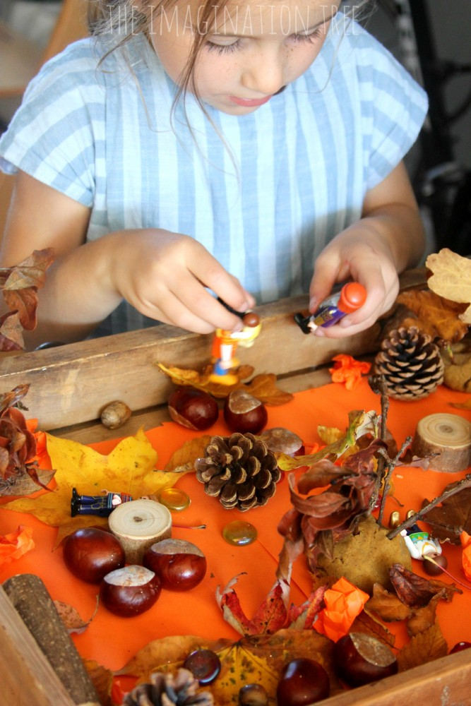Fall themed sensory small world play