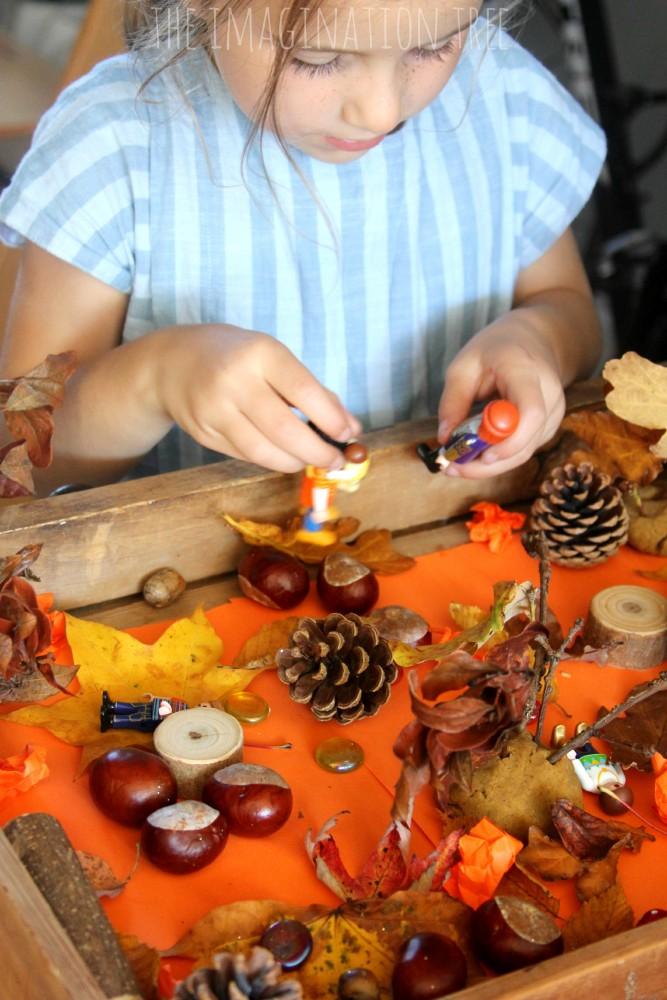 Fall themed sensory small world play