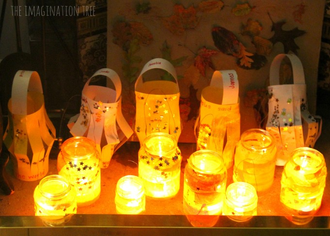 Glass and paper lantern crafts for a light party