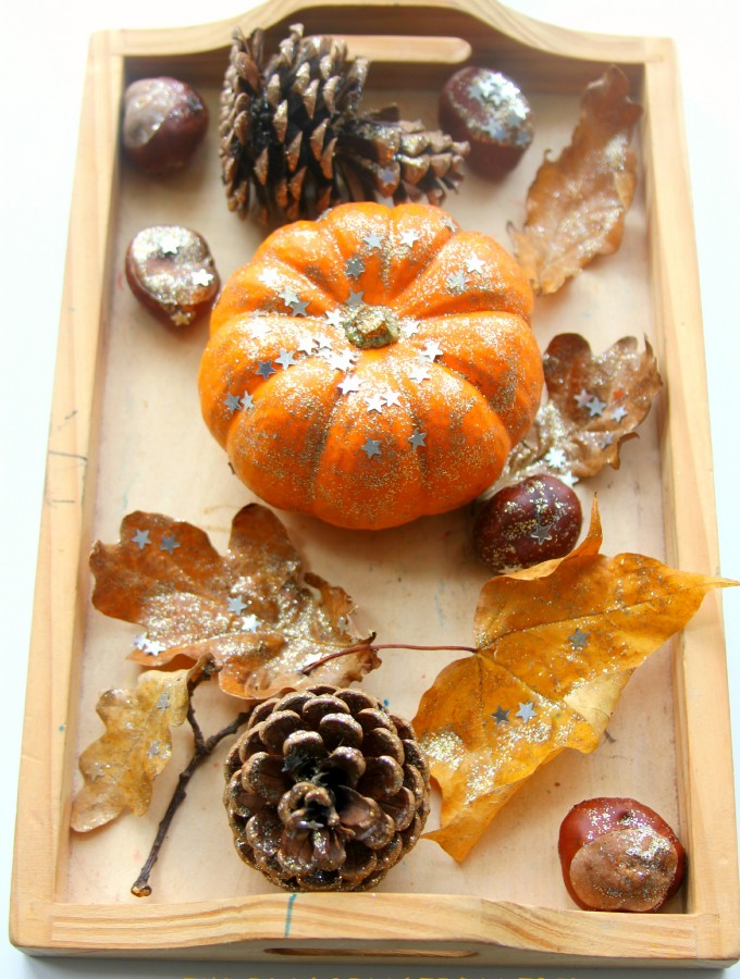 Invitation to decorate Fall treasures with glitter and sequins!
