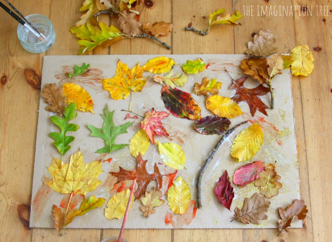Large scale Autumn leaf collage art project for kids