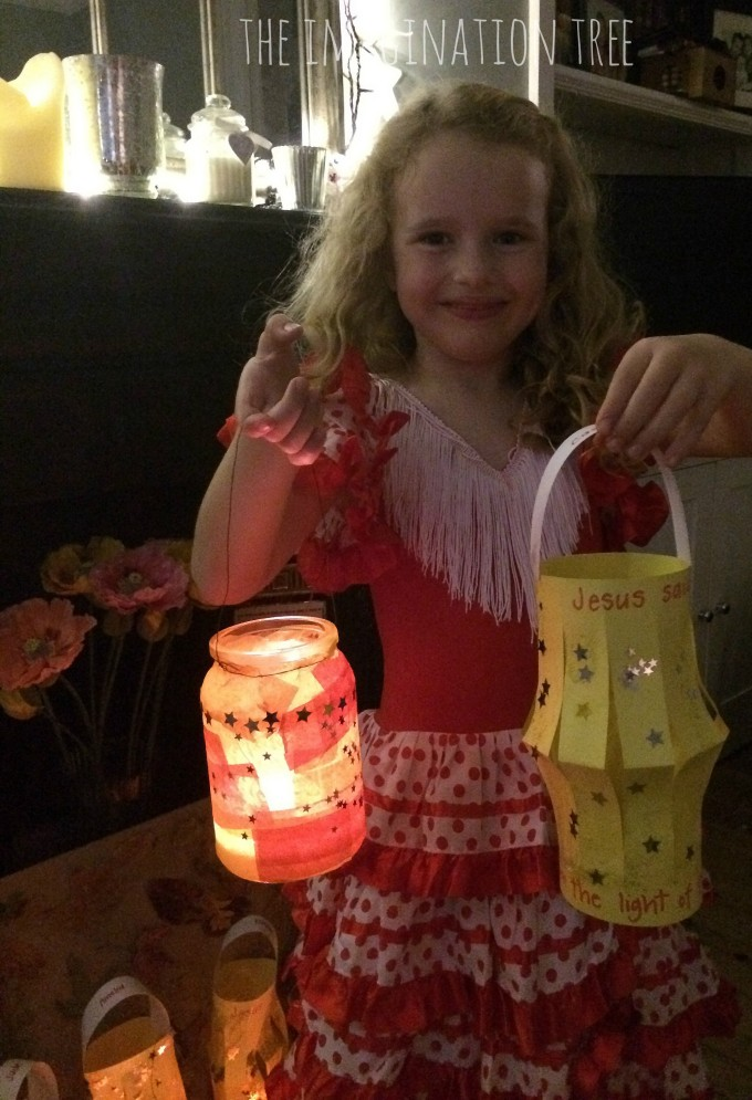 Making paper and glass lanterns for a light party