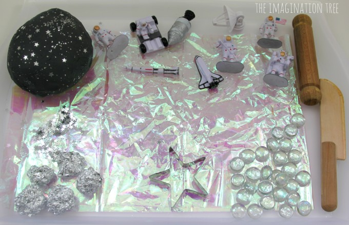 Space themed small world play with galaxy play dough