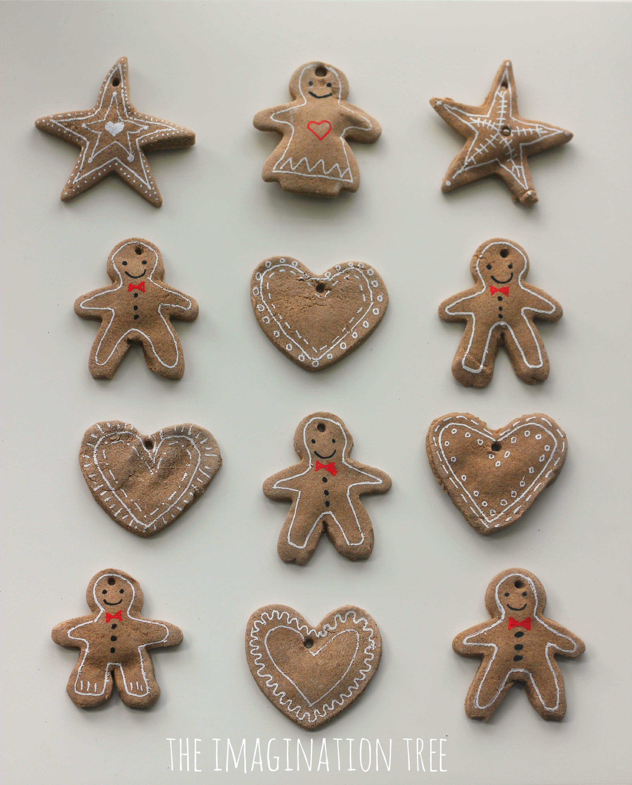 gingerbread clay ornaments made using a simple diy recipe
