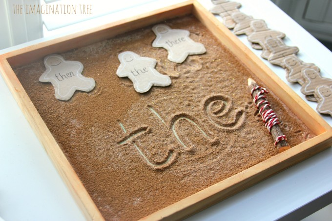 Gingerbread man sensory writing tray