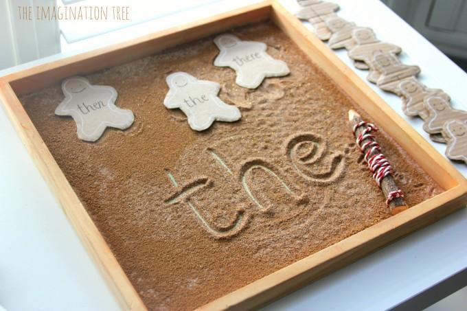 Gingerbread man sensory writing tray