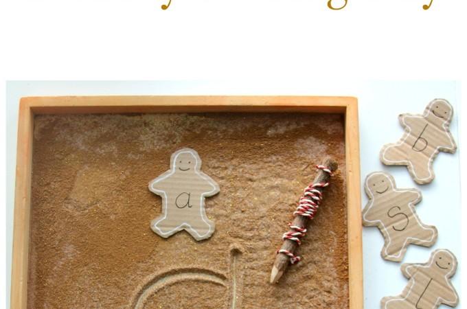 Gingerbread man sensory writing tray literacy activity