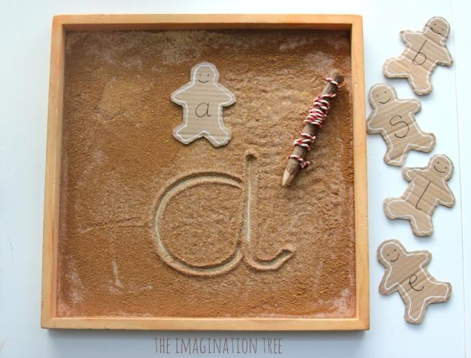 Gingerbread sensory writing tray activity