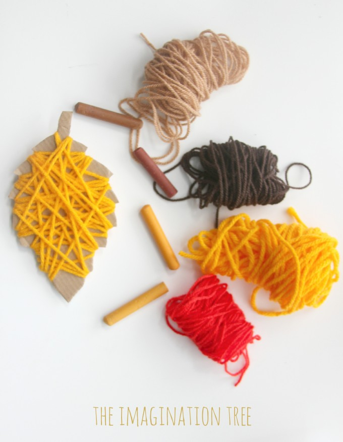 Invitation to create Autumn yarn wrap leaves