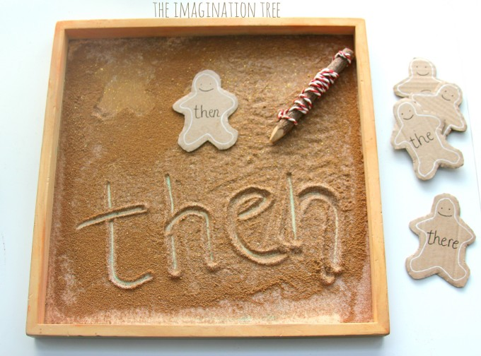 Learn letters and sight words in a gingerbread sensory tray!