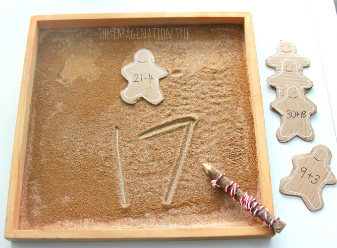 Number problems in the gingerbread sensory learning tray