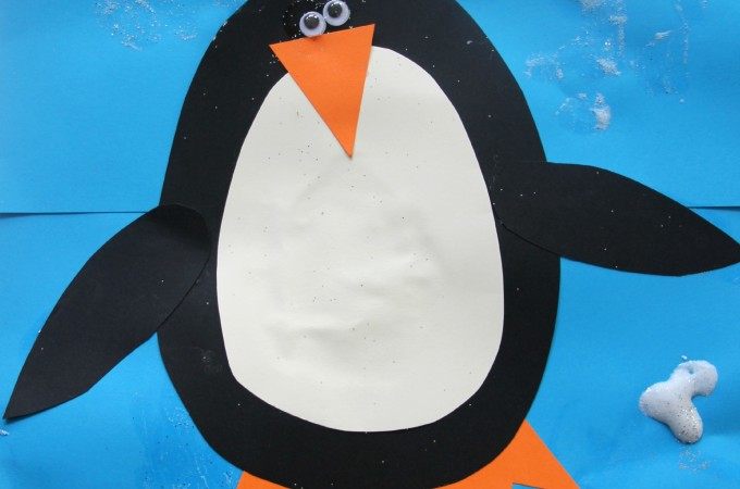 Penguin cards with sparkly puffy paint snow- Christmas cards for kids to make