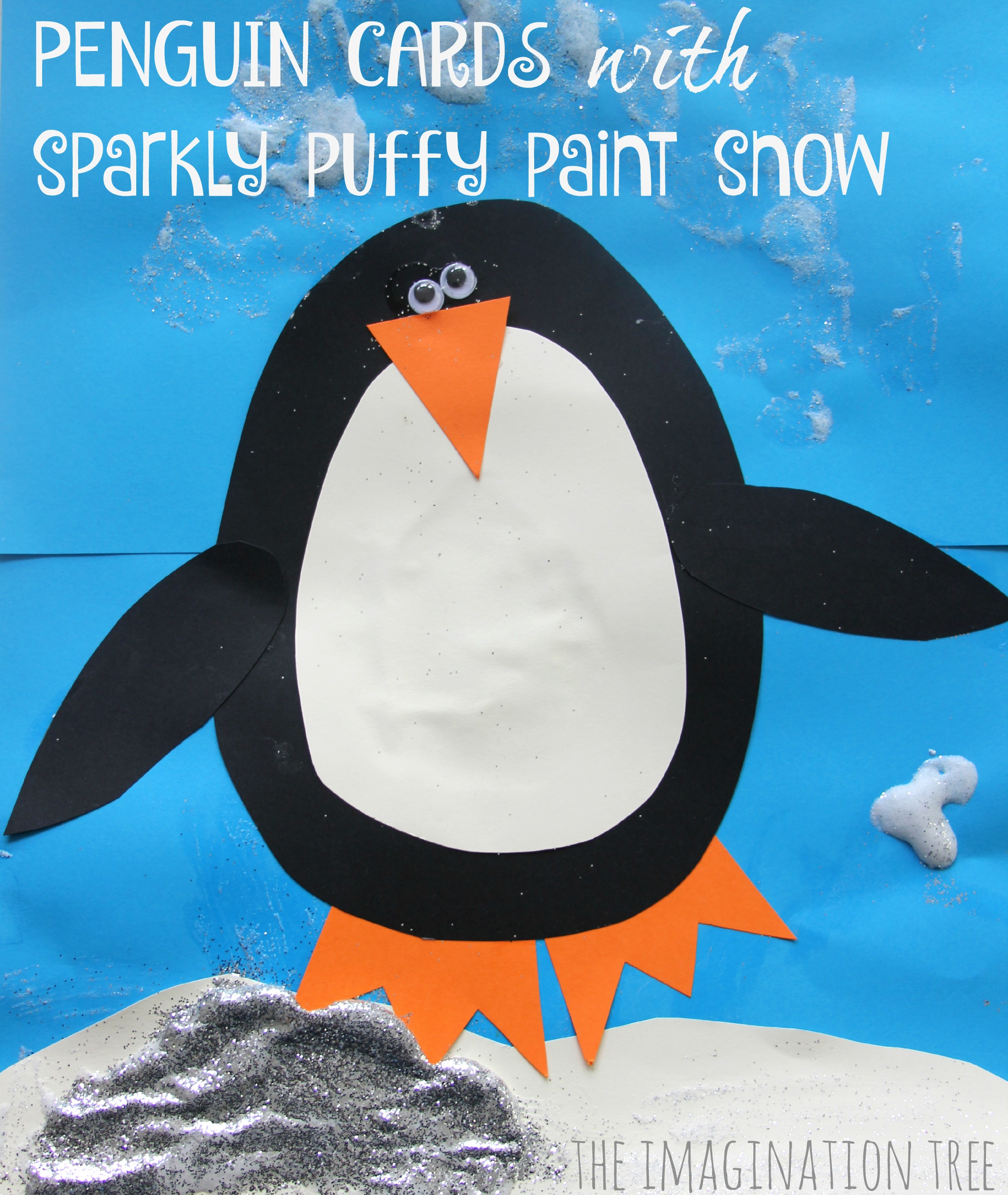Penguin Christmas Card with Puffy Paint Snow - The Imagination Tree