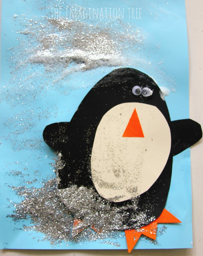 Penguin puffy paint christmas card made by toddler