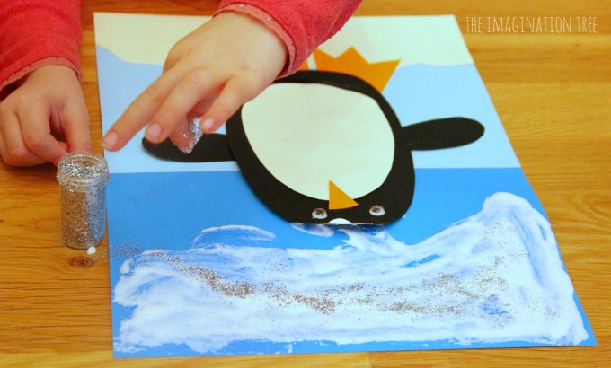Penguin puffy paint christmas craft