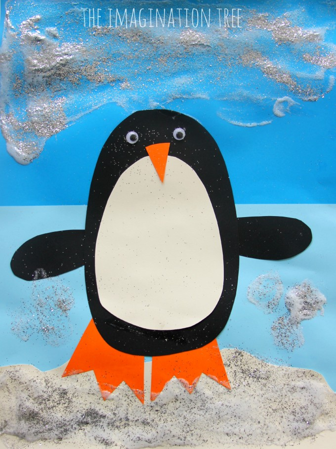 Puffy Paint Penguin Craft- Christmas card for kids to make