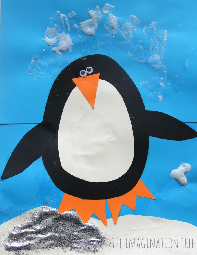 Puffy paint penguin christmas card craft for kids