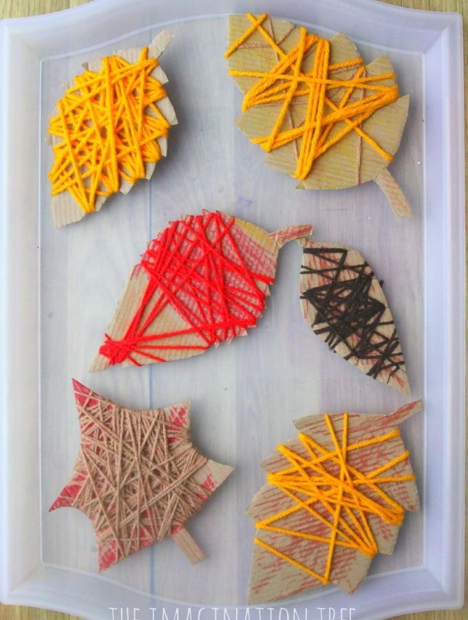 Yarn wrap Autumn leaves craft