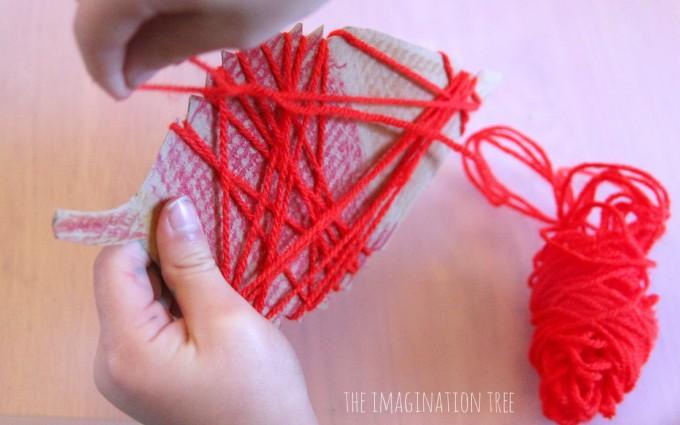 Yarn wrapping leaf craft