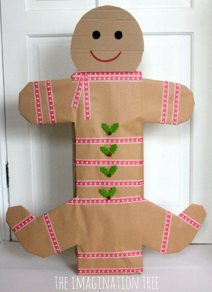Creative gift wrapping ideas turn a box shape into a gingerbread man!