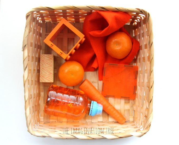Colour themed baby treasure basket